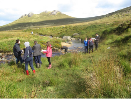 Year 12 students collecting field work data along the Rocky River, Mourne Mountains.