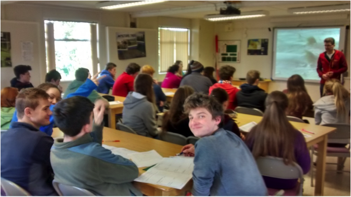 Year 13 students undertake fieldwork preparation in the classroom at the Magilligan Field Centre, County Londonderry.
